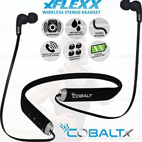 COBALTX XFLEXX Super Flexible Bluetooth Wireless Weather Resistant Sweat Resistant Headphones Hands Free Talk & 7 Hours of Music 33 Feet (10 Meters) Range Magnetic Buds with Ultra Bass (Black)