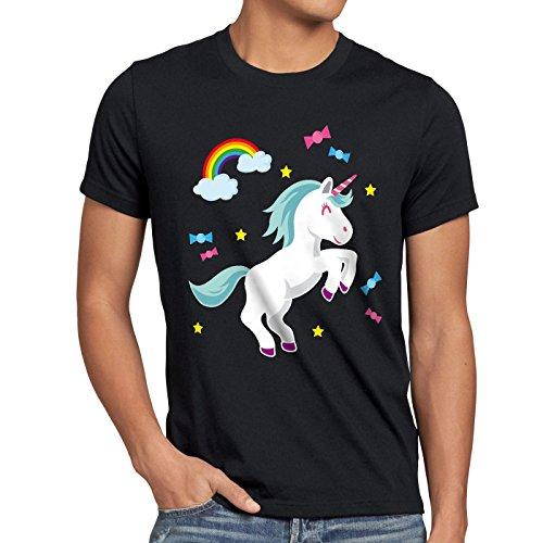 style3 Unicorn Candy Einhorn Herren T-Shirt Regenbogen Süßwaren, Farbe:Schwarz, Größe:5XL