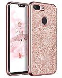 BENTOBEN Funda Xiaomi Mi 8 Lite, Carcasa Xiaomi 8 Lite Purpurina Cover Case Ultra Delgada Ligera Brillante Resistente Silicona PC Protectora Antigolpes Fundas para Xiaomi Mi 8 Lite 2018-Bling Oro Rosa
