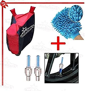 Autostark Accessories Bike Body Cover, Tyre Led Light & Bike Cleaning Gloves for Royal Enfield Classic 350 (Combo of 3)
