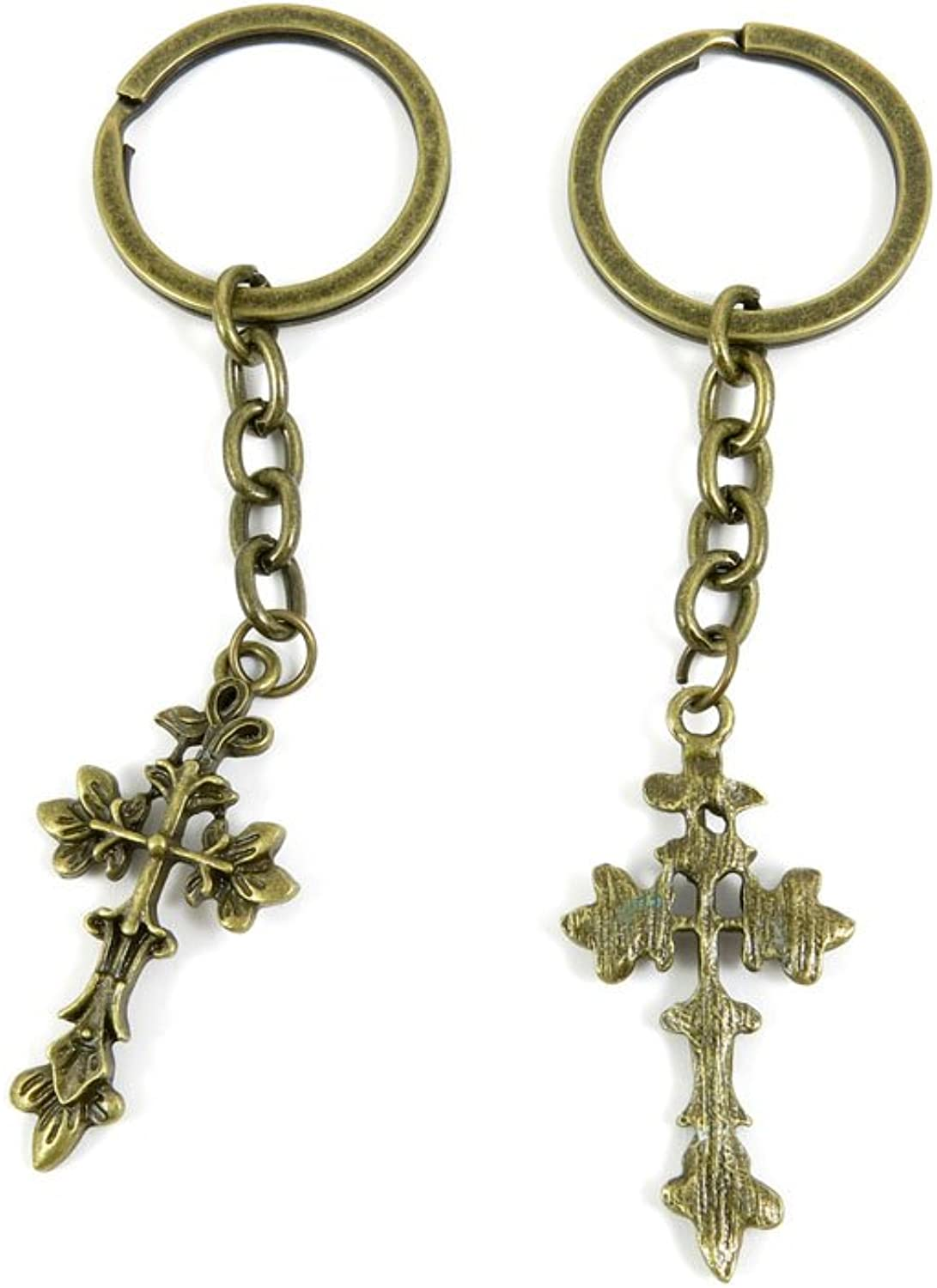 80 PCS Keyring Car Door Key Ring Tag Chain Keychain Wholesale Suppliers Charms Handmade I7ZM5 Leaves Latin Cross