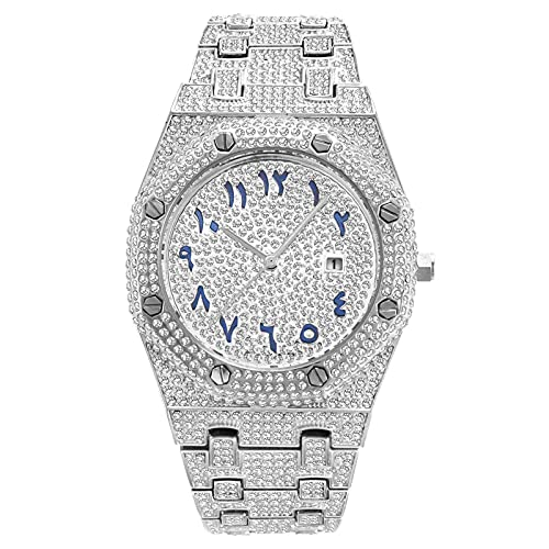 GAOHON Voll Diamant Uhren Silber Gold Rose Gold Mode Quarzuhr, Unisex Luxus Quarz Analog Stahlband Armband Armbanduhr,Silber,One Size