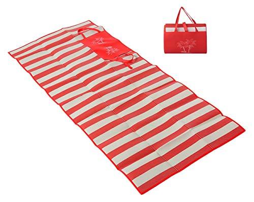 Masmas Strandmatte, faltbar, atmungsaktiv, für Outdoor, Camping, wasserdicht, tragbar, Sandschutz, Strandmatte rot
