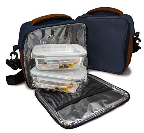 NERTHUS Lunch Bag Azul Fiambrera bolsa termica porta alimentos, navy + 2 tupper, Tela Resistente, Con 2 Herméticos Cristal, Con 2 Tuppers Cristal