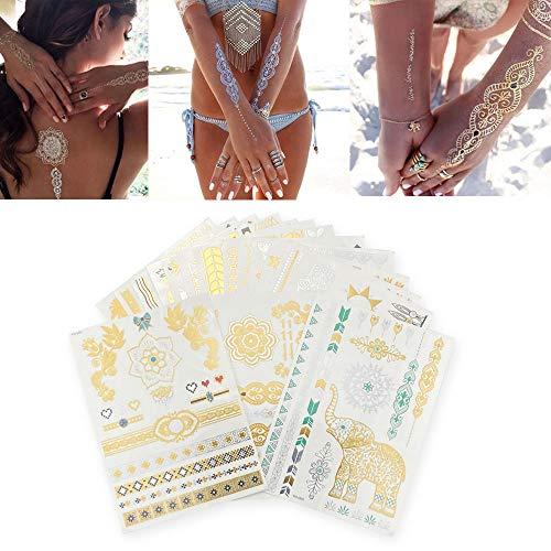 Set 16 Blätter Flash Tattoos, Temporäre Tattoos Sticker, in Gold, Silber & Schwarz Temporäre Tätowierung, Das perfekte Festival & Party Accessoire