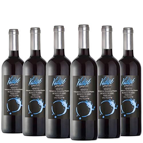 BERGAMO VINI - Raboso Bosco Rosso frizzante - 100% Raboso con note di frutta giovane - Pacco da 6 bottiglie x 750ml