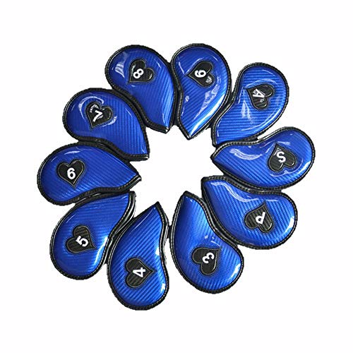 Uiophjkl Club Golf Blade hoofddeksel, 10 stuks, hoogwaardig PU-materiaal, glanzend, golfputter, hoofddeksel, standaardmaat, vocht, golfputter, afdekking, gepersonaliseerde golfclub protector