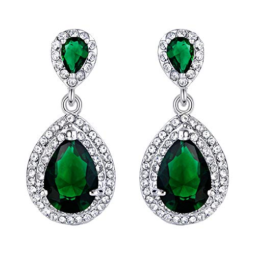 EVER FAITH Women's Austrian Crystal Cubic Zirconia Tear Drop Dangle Earrings Emerald Color Silver-Tone