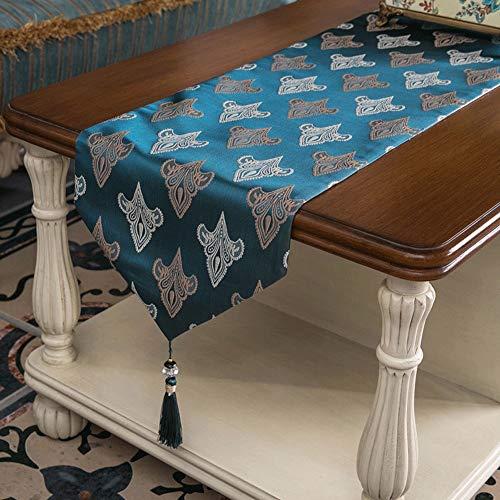 Tafelloper mengd, geometrisch patroon gedrukt, tafelkleed, handgemaakte kwasttafelkleed, kan als tafeldecoratie worden gebruikt, dans, halloween, piano 33X180cm blauw
