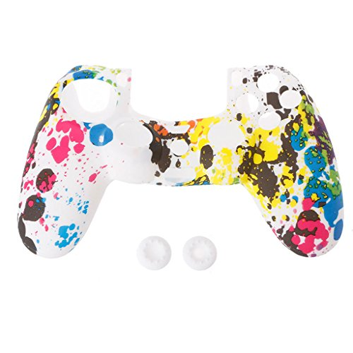 PENG Anti-Rutsch Multicolor Silicone Guards Cover 2 Joystick-Kappen für 4 PS4-Controller