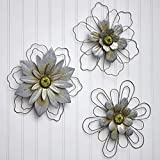 The Lakeside Collection Rustic Galvanized Metal Hanging Wall Flowers Decor - Set of 3 - Wire Outline