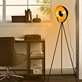 Industrial Floor Lamp for Living Room, Modern Satellite Tripod Light Fixture for Rustic Decor, Cinema Lighting Retro Spotlight Farmhouse Vintage Standing Lamps for Bedrooms Black Gold(with no Bulb)