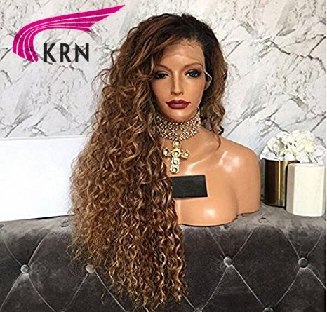 KRN 1b30 Ombre Color Kinky Curly Wigs Human Hair Full Lace Wigs Glueless Lace Front Wigs For Black Women 200% Density (20 Inch, Lace Front Wig)