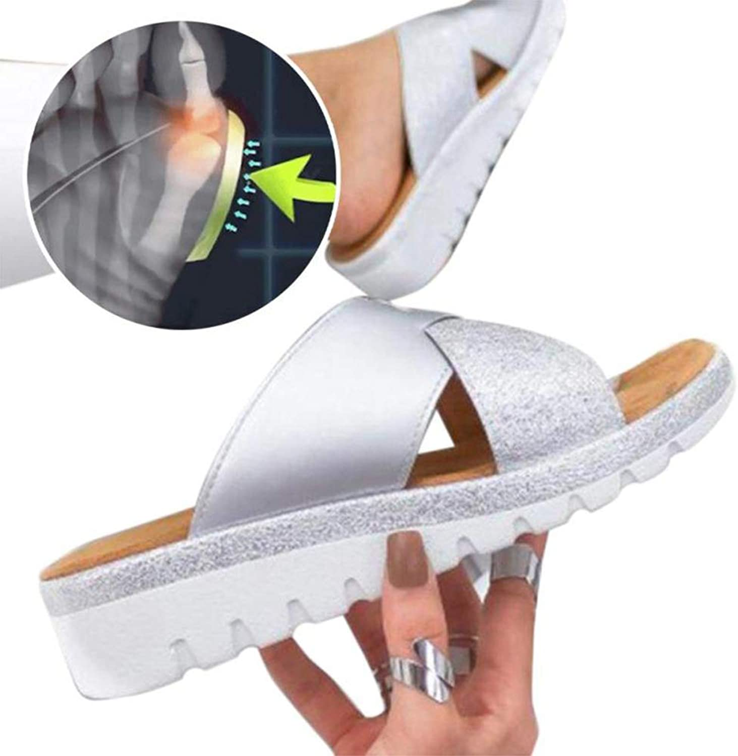 Orthotic Women PU Leather Slippers Slipper Outdoor Casual Beach Slipper Big Toe shoes Thumb Correction Sandal,1 Pair