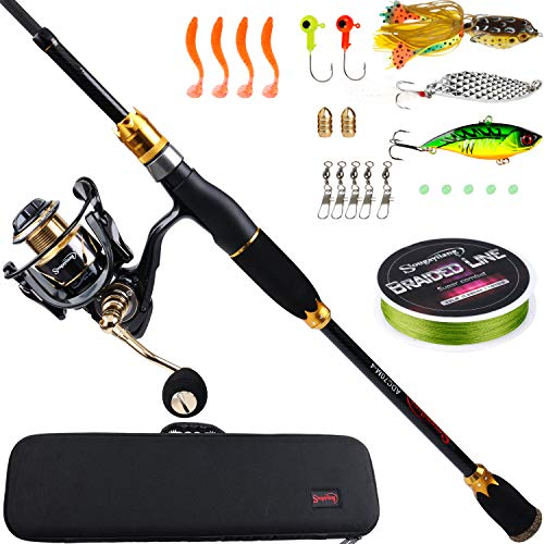 Sougayilang Spinning Fishing Rod Reel Combos,24-Ton Carbon Fiber Protable Fishing Poles with Spinning Reel for Travel Freshwater Fishing-2.1M Gloden Crown with Bag