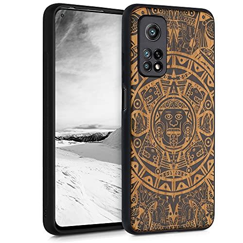 kwmobile Hülle kompatibel mit Xiaomi Mi 10T / Mi 10T Pro - Handyhülle Holz TPU Cover - Maya Kalender Art Hellbraun Schwarz