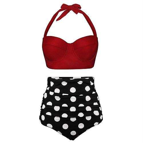 CHHGS Bikini Push Up femmes maillot de bain High Waist Bikinis Plus Taille Maillots De Bain Vintage Bikini Set Bathing Suits Retro Floral plage Wear XXL AMZ18044R1 (en)