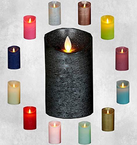 Coen Bakker LED Echtwachskerze Kerze viele Farben mit Timer flackender Docht Wachskerze Kerzen inkl. Batterien, Farbe:Anthrazit, Größe:10 cm