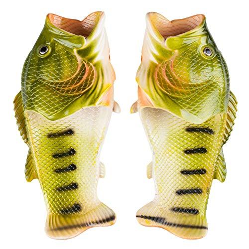 SPRALLA Fischlatschen Hausschuhe, Grün - Größe: 42-43 EU