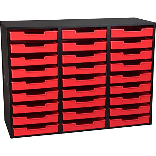 Really Good Stuff Black 27 Slot Mail Center with Trays Single Color (Red)
