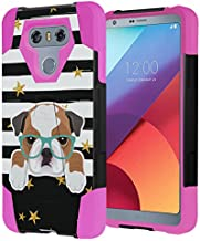 Capsule Case Compatible with LG G6 [Hybrid Fusion Dual Layer Shockproof Combat Kickstand Case Black Pink] for LGG6 LG G6 2017 - (Bulldog)