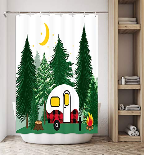 RV Shower Curtain for Camper Trailers Camping Bathroom, Coniferous Forest Campfire and Buffalo Plaid Camper, Stall Bathroom Shower Curtain with Hooks Set 47x64 Inch Machine Washable
