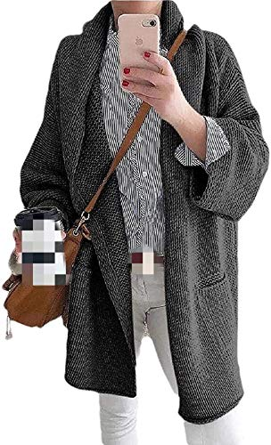 Tegerri Chaqueta de punto con bolsillos para mujer y frente abierto