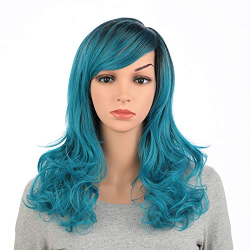 OneDor Full Head Beautiful Long Curly Wave Stunning Wig Charming Curly Costume Wigs with Fringe (Teal Blue Ombre-1BTS4728)