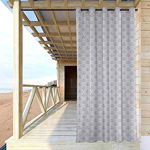 Anchor High-end Curtains Outdoor Curtain Gazebo Christmas Decoration Simple Stylized Icons with Ocean Inspired Wave Pattern Oceanic Sea Life Grey Pale Grey White