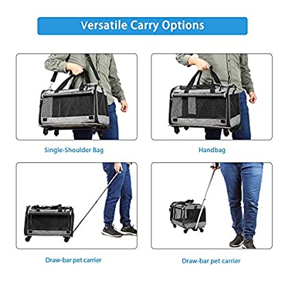 Coopeter Pet Carrier Stroller with Wheels for Travel and Outdoor,Easy to Fold,Durable Mesh Panels & Washable Fleece Mat … (Grey) 4