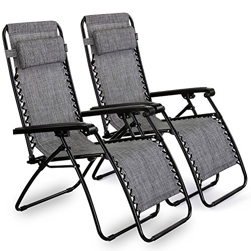 VonHaus Set of 2 Premium Heavy Duty Textoline Zero Gravity Chair - Outdoor Folding & Reclining Sun Lounger with Head Pillow - Made from Steel Frame for Patio, Conservatory or Deck Chair