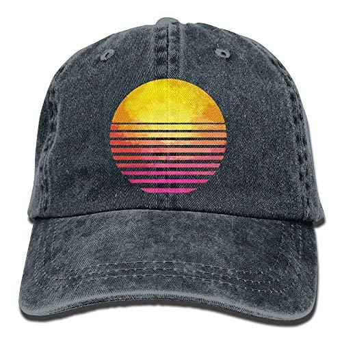 Wdskbg Tejido de Mezclilla Ajustable Gorras de béisbol Retro Ochenta Símbolo Sun Snapback Cap Multicolor16