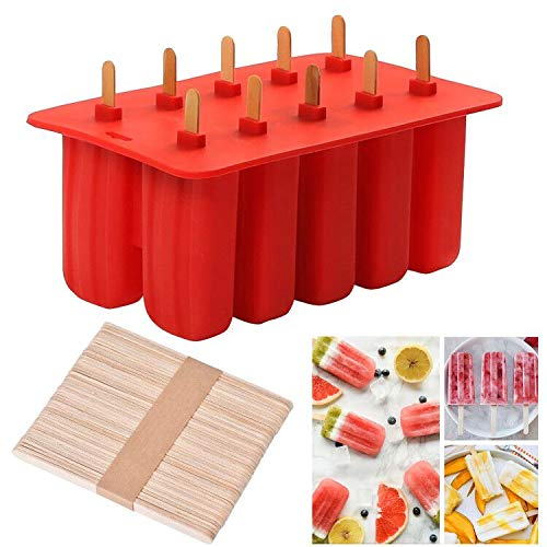 Cozywind Stampi Ice Bar Stampo ghiacciolo Makers 10 Set Ice Cream Vassoio Popsicle Frozen Yogurt Bar Ideale per la Preparazione di ghiaccioli, Gelati, sorbetti (Red)