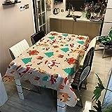 Tovaglia di Natale Rettangolare, Morbuy Tovaglie da Tavolo Impermeabile Antimacchia 100% Poliestere con Stampa 3D per Cucina Giardino Feste Natalizia Decorazioni (Orso di Natale,140x140cm)