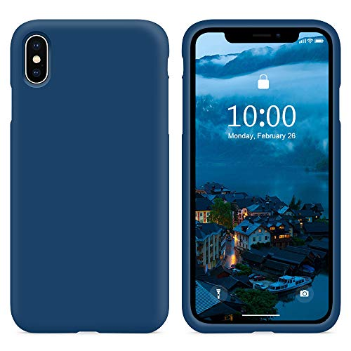 SURPHY Cover iPhone XS, Cover iPhone X, Custodia iPhone X XS Silicone Cover Antiurto con Morbida Microfibra Fodera, Full Body Protettiva Cover Case per iPhoneX XS 5.8', Blu Orizzonte
