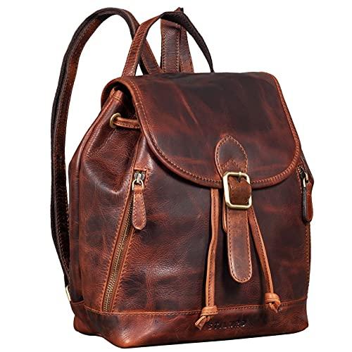 STILORD 'Allison' Zaino Elegante Donna Pelle Daypack Vintage Backpack Zainetto Borsa a Tracolla Pratico Elegante Borsa da Viaggio Zaino da Lavoro in Cuoio Autentico, Colore:bordeaux - marrone