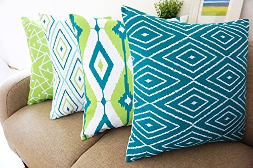 Howarmer Cotton Canvas Teal Decorative Throw Pillow Cover Set for Couch Set of 4 Green Geometric Pattern