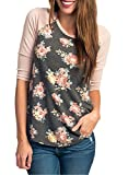 CEASIKERY Women's Blouse 3/4 Sleeve Floral Print T-Shirt Comfy Casual Tops For Women,Floral 002,(US 14-16) X-Large