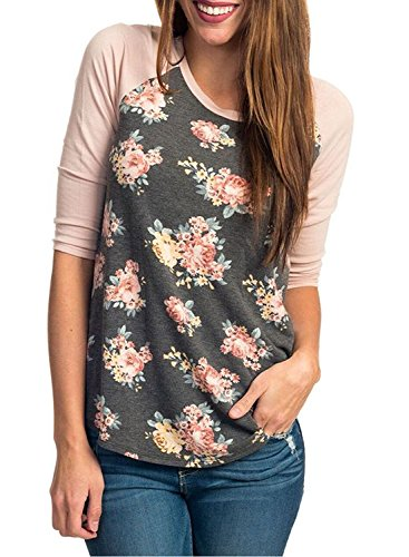 CEASIKERY Women's Blouse 3/4 Sleeve Floral Print T-Shirt Comfy Casual Tops For Women,Floral 002,(US 12-14) Large