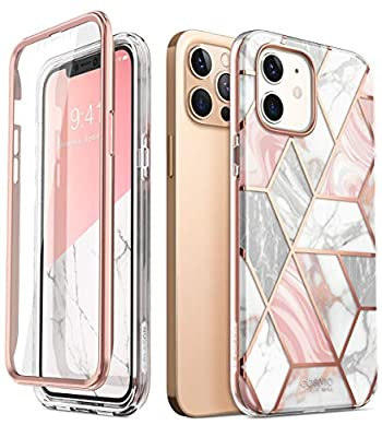 i-Blason Cosmo Series Case for iPhone 12 / iPhone 12 Pro 5G 6.1 inch (2020 Release), Slim Full-Body Stylish Protective Case with Built-in Screen Protector (Marble)