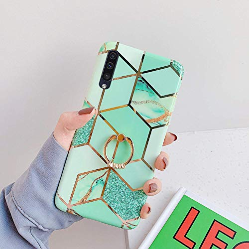 Saceebe Compatible avec Samsung Galaxy A70 Coque Silicone Motif Géométrique Marbre Housse Etui avec Anneau Support Bague Glitter Paillette Brillant Strass Ultra Fine Fille Case,Vert