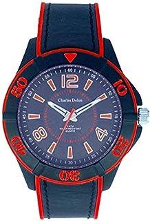 Charles Delon Mens Quartz Watch, Analog Display and Silicone Strap 5688 GMBR