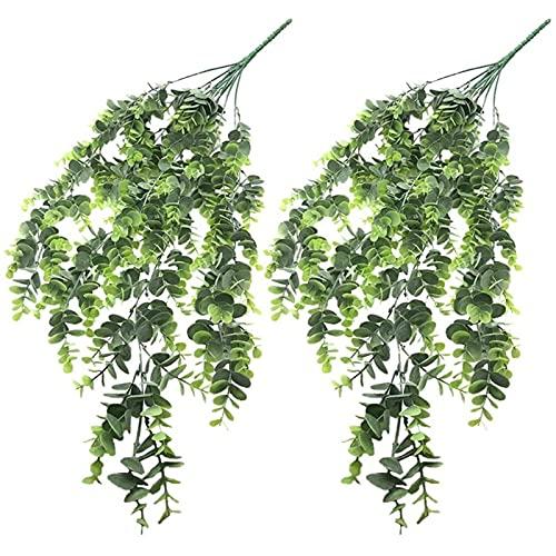 Buiten decoratieve planten 2 stks 29.5 inch kunstmatige eucalyptus wijngarland plant nep hangende planten voor indoor…