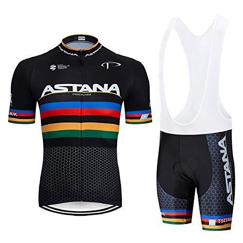 GHDUKEY Men's Summer Cycling Equipment Set Breathable Short Sleeve Jersey and Bicycle Shorts for Outdoor Sports - Black - M