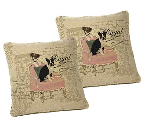 DaDa Bedding Tapestry Throw Pillow Covers - Set of 2 Royal Dogs French Bulldog Beagle - Woven Needle Stitched Cushions Elegant Square Colorful - 2-Pieces - 18' x 18'