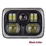 GXQ-AIJINGYU 54W 7x6 Pulgadas LED Faros de Bombilla for 86-95 Jeep Wrangler Rectangular Freightliner Peterbilt lámpara Internacional Mack (Color : Black Set)