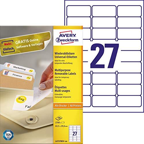 AVERY Zweckform L4737REV-100 Universal-Etiketten (63,5 x 29,6mm auf DIN A4, wieder rückstandsfrei ablösbar / abziehbar, bedruckbar, selbstklebend, 2.700 Klebeetiketten auf 100 Blatt) weiß
