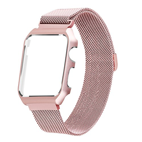 LKEITY Compatible for Apple Watch Band 42mm Series 1/2/3 Milanese Loop Stainless Steel Magnetic Band with Metal Case for iWatch Replacement Strap Rose Gold