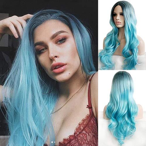 Party Queen Kunsthaar-Perücke, 61 cm lang, dunkler Haaransatz, Ombre-Hair, Pastellblau, hitzebeständig, gewellt, für Damen, Cosplay