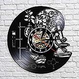 NIUMM Reloj De Pared De Vinilo Herramientas De Ciencia Laboratorio De Química Decoración De Pared Disco De Vinilo Reloj De Pared Biología Ciencia Reloj Vintage con Led
